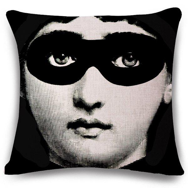 Chic Blinder Girl Face Pattern Square Shape Flax Pillowcase (Without Pillow Inner)