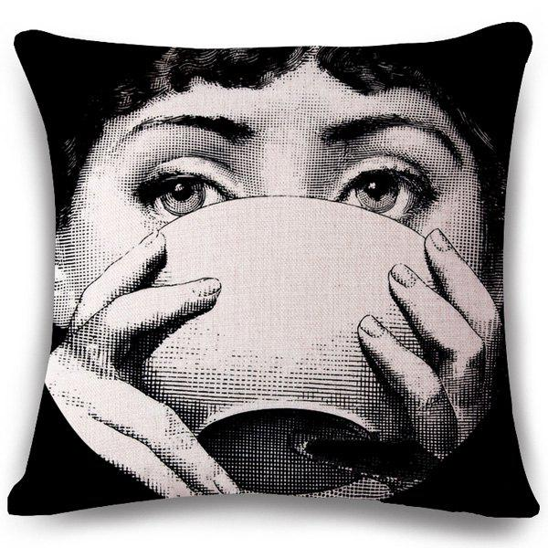 Chic Bowl and Girl Face Pattern Square Shape Flax Pillowcase (Without Pillow Inner) - BLACK