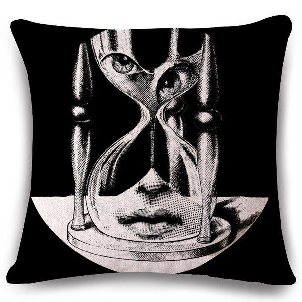 Chic Face Hourglass Pattern Square Shape Flax Pillowcase (Without Pillow Inner) - BLACK