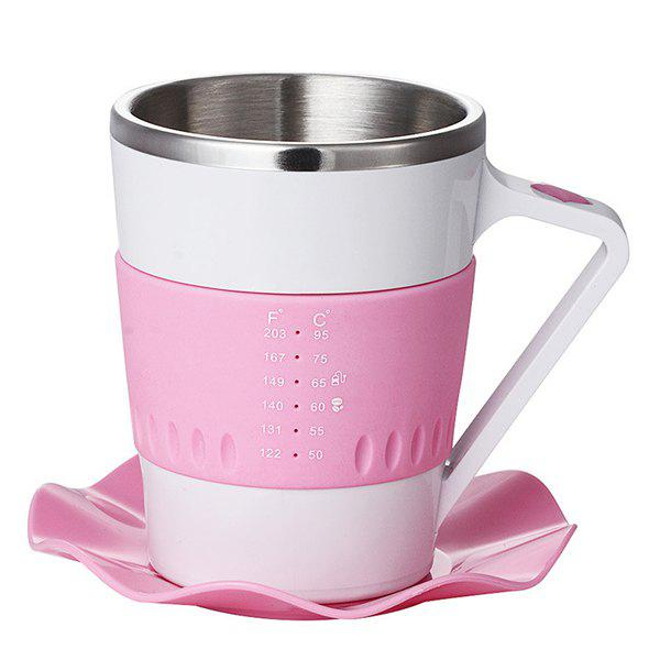 Stylish 330ML Intelligent Temperature Sensing Stainless Steel Coffee Cup - PINK