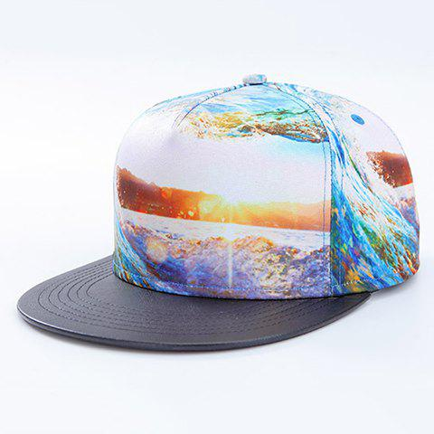 Fashion 3D Sea and Sunlight Pattern Baseball Cap - WHITE