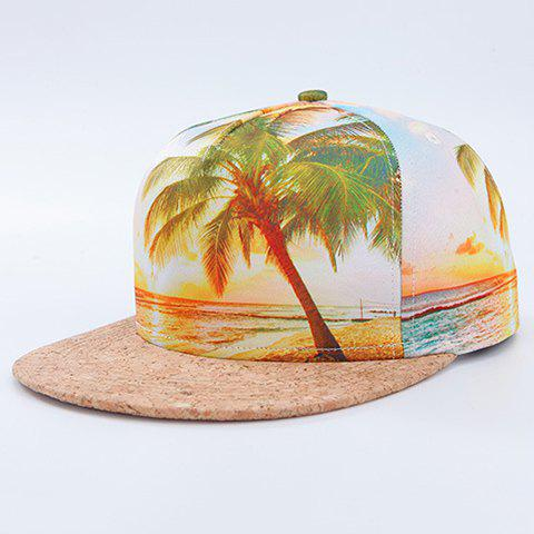 Fashion 3D Beach and Coconut Tree Pattern Baseball Cap - WHITE