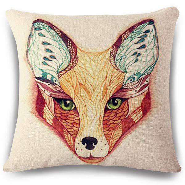 Chic Hand Painted Fox Face Pattern Square Shape Flax Pillowcase (Without Pillow Inner)