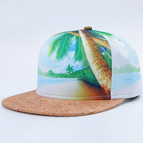Trendy 3D Sandbeach Sea Coconut Tree Pattern Baseball Cap - GREEN