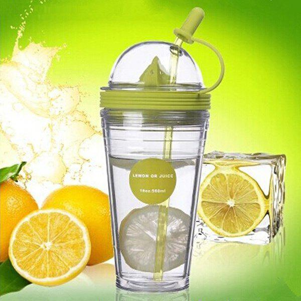 Stylish 560ML Straw Cup Lemon Juicer Cup - GREEN