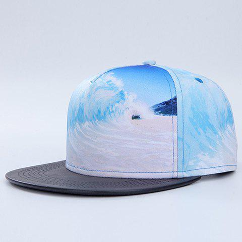 Fashion 3D Beach and Sea Wave Pattern Baseball Cap - AZURE
