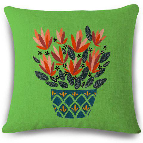 Creative Bonsai Pattern Square Shape Flax Pillowcase (Without Pillow Inner) - COLORMIX