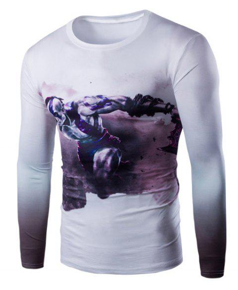 Slimming Round Neck 3D Beefcake Print Long Sleeves Men's Ombre T-Shirt - PURPLE XL