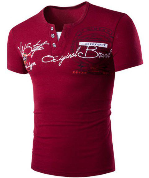Round Neck Faux Twinset Letters Pattern Print Short Sleeve Men's T-Shirt - RED XL