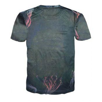 Vogue Round Neck 3D Eyeball and Figure Print Men's Short Sleeves T-Shirt - COLORMIX L