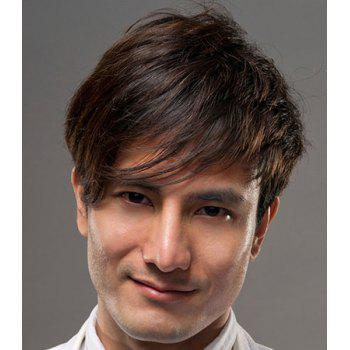 Buy Fluffy Straight Side Bang Capless Stylish Dark Brown Short Synthetic Wig Men