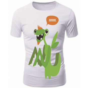 Modish Round Neck 3D Cartoon Mantis Pattern Short Sleeve Men's T-Shirt