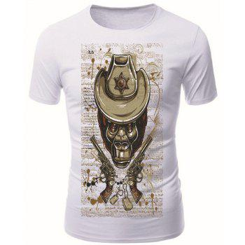 Modish Round Neck 3D Skull Guns Pattern Short Sleeve Men's T-Shirt