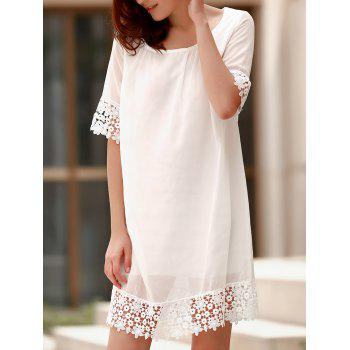 3 4 Sleeve Lace Spliced Pleated White T Shirt Dress