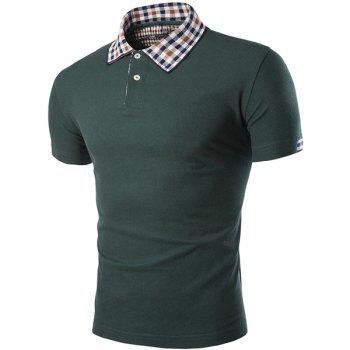 Color Block Plaid Spliced Turn-down Collar Shorts Sleeves Men's Polo T-Shirt - GREEN 2XL