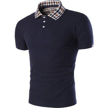 Color Block Plaid Spliced Turn-down Collar Shorts Sleeves Men's Polo T-Shirt