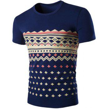 Fashion Round Neck Geometric Print Short Sleeves Men's Slimming T-Shirt - CADETBLUE M