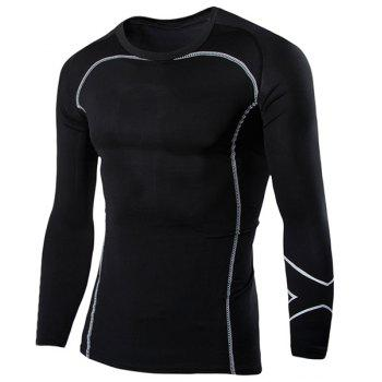 Casual Round Neck Stripes Pattern Black Long Sleeves Men's Sweat Dry Tight T-Shirt