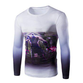 Hot Sale Round Neck 3D God of War Print Long Sleeves Men's Ombre T-Shirt