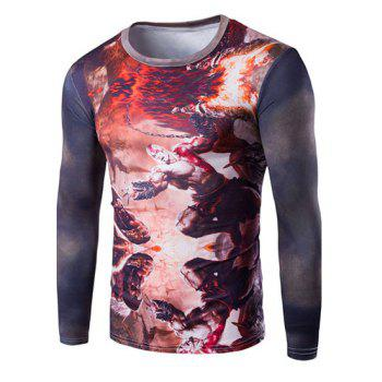 Buy Cool 3D God War Print Round Neck Long Sleeves Men's Slim Fit T-Shirt RED