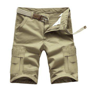 Loose Fit Summer Solid Color Pockets Cargo Shorts For Men