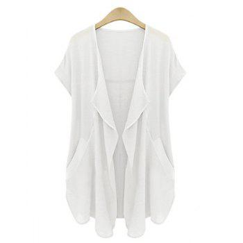 Casual Turn-Down Neck Short Sleeve Pure Color Plus Size Cardigan For Women