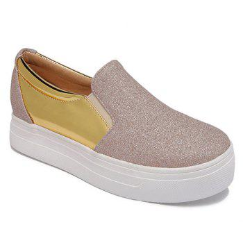 Simple Sequined Cloth and Splicing Design Women's Platform Shoes