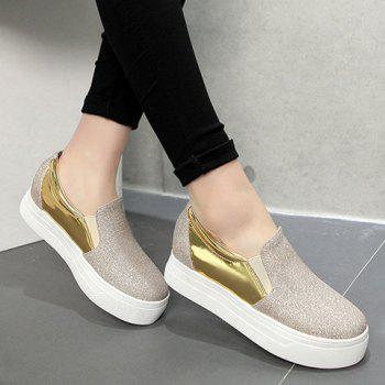 Simple Sequined Cloth and Splicing Design Women's Platform Shoes - GOLDEN 38
