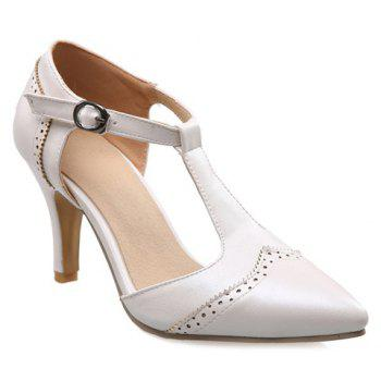 Elegant T-Strap and Engraving Design Women's Pumps