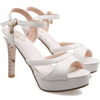 Trendy Rhinestone and PU Leather Design Women's Sandals - WHITE 36