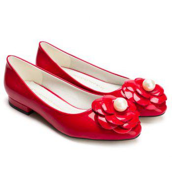 Leisure Flower and Faux Pearl Design Women's Flat Shoes - 35 35