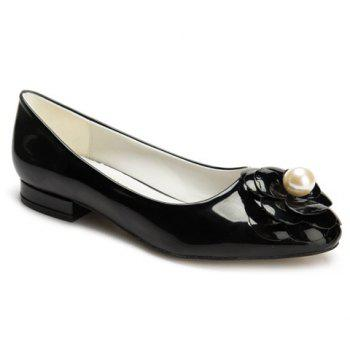 Leisure Flower and Faux Pearl Design Women's Flat Shoes - BLACK BLACK