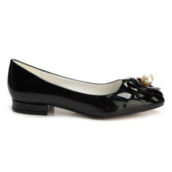 Leisure Flower and Faux Pearl Design Women's Flat Shoes - 39 39