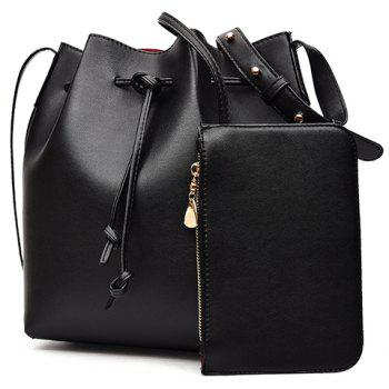 Casual Solid Color and String Design Women's Crossbody Bag - BLACK