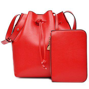 Buy Casual Solid Color String Design Women's Crossbody Bag RED