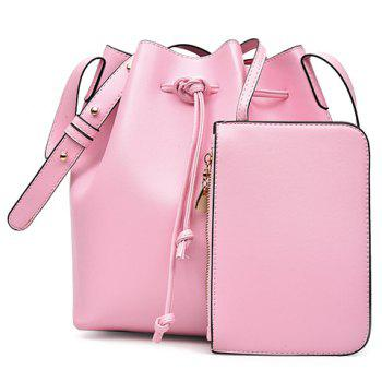 Casual Solid Color and String Design Women's Crossbody Bag - PINK