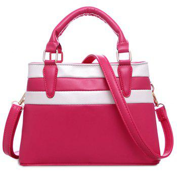 Trendy Color Block and PU Leather Design Women's Tote Bag