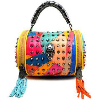 Trendy Color Matching and Skull Design Tote Bag For Women