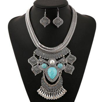 A Suit of Artificial Gem Rhinestone Water Drop Necklace and Earrings