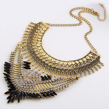 Rhinestone Artificial Gem Oval Necklace - GOLDEN