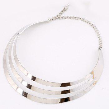 Punk Metallic Mirror Mottle Necklace - SILVER