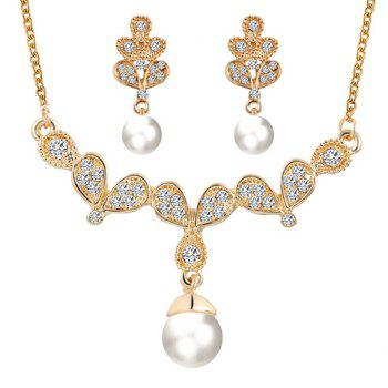 A Suit of Faux Pearl Rhinestone Pendant Necklace and Earrings