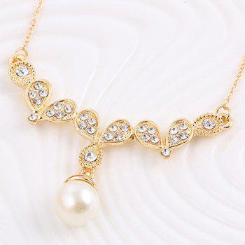 A Suit of Faux Pearl Rhinestone Pendant Necklace and Earrings - GOLDEN