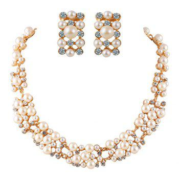 A Suit of Faux Pearl Rhinestoned Necklace and Earrings