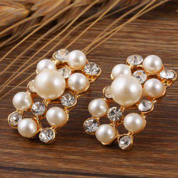 A Suit of Faux Pearl Rhinestoned Necklace and Earrings - WHITE