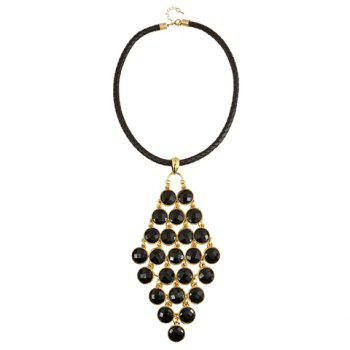 Artificial Gem Round Necklace - BLACK