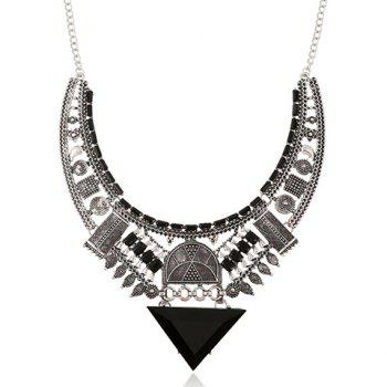Artificial Gem Geometric Triangle Necklace - SILVER GRAY