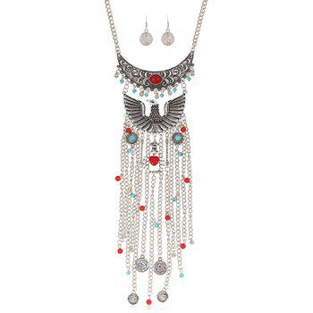 A Suit of Artificial Gem Eagle Coin Necklace and Earrings - SILVER