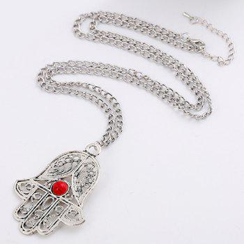 Artificial Gem Palm Necklace - SILVER/RED
