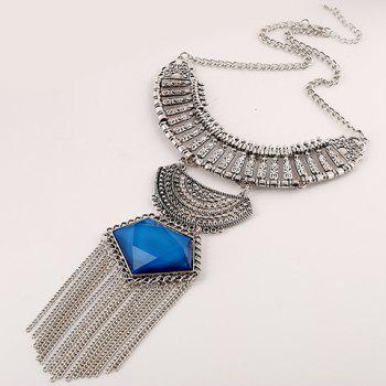 Artificial Gem Chain Tassel Necklace
